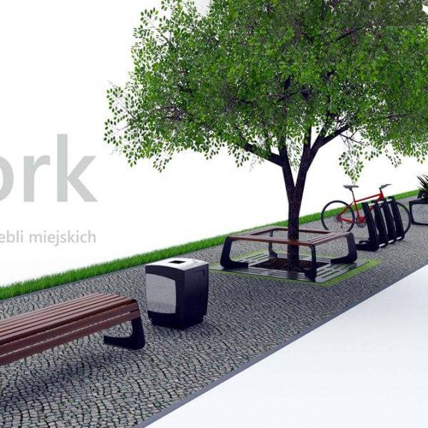 lawki parkowe kosze miejskie oslony drzew york