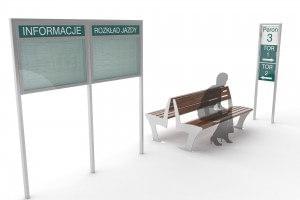 Meble miejskie na peronach kolejowych