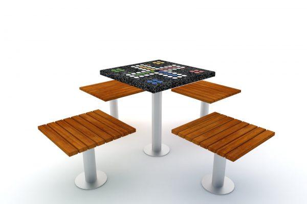 stół do gry w chińczyka Practic zestaw srebrny